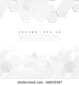 Vector Abstract Design Hexagonal Background. Grey and white