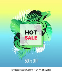 Vector abstract design summer colorful hot banner with tropical leaves 3d frame