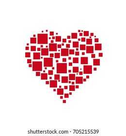 Vector abstract digital heart with squares