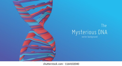 Vector abstract DNA double helix illustration as paper cut. Mysterious source of life background. Genom futuristic image. Conceptual design of genetics information