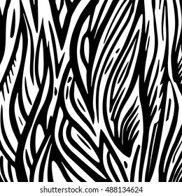Vector abstract doodle hand drawn. Black and white waves background.
