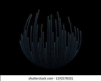 Vector abstract dots line sphere shape in blue and green colors on black background in concept technology, music, digital, ai, science.