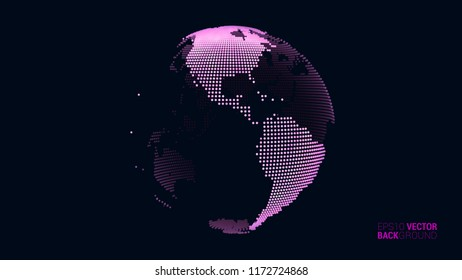 Vector abstract dotted globe views over North and South America