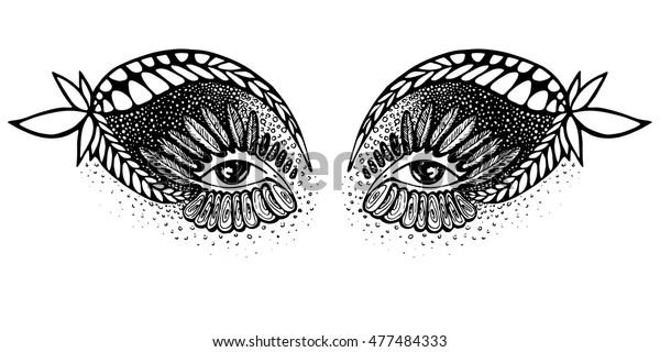 Vector Abstract Drawing Eyes Indian Motive Stock Vector
