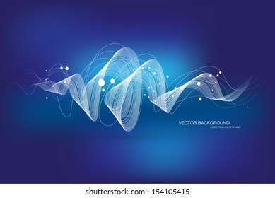 Vector abstract dynamic curly wave background