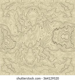 Vector abstract earth relief map seamless pattern element. Generated conceptual elevation map.