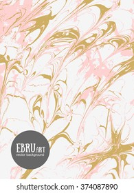 Vector abstract ebru background. Gold and pink splashes.Template for wedding, invitation and banners design.