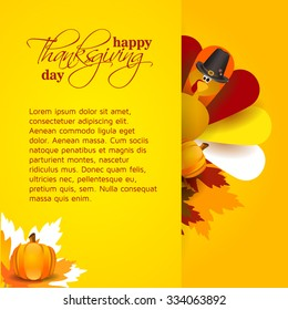 vector abstract elements on autumn holiday Thanksgiving, turkey, turkey yellow leaves, graphic design illustration on the feast day of Thanksgiving