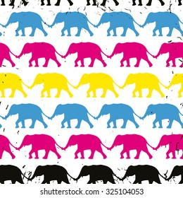 Vector abstract elephant seamless pattern in cyan, magenta, yellow and black. Grunge effect is on a separate layer