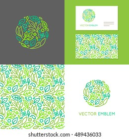 Vector abstract emblem - insignia made of green leaves and flowers - set of design elements for organic shop or yoga studio, cosmetics, beauty products, organic and healthy food  -  business card