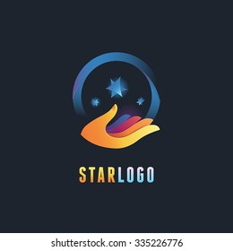 Vector abstract emblem and logo design template in gradient colors - hand icons with stars - knowledge and magic concepts