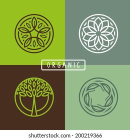 Vector abstract emblem - outline monogram - ecology sign and icons - logo design templates