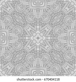 Vector abstract ethnic hand drawn line art seamless pattern