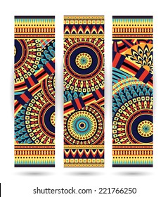 Vector abstract ethnic pattern cards on white background