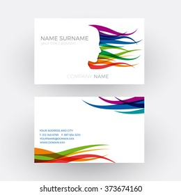 Vector Abstract female head, concept of hairdresser. Business card