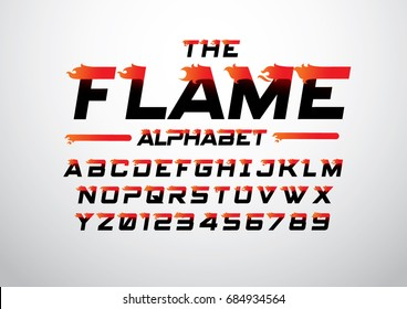 Vector of abstract flaming font and alphabet