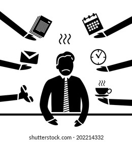 vector abstract flat design stressed and depressed businessman in his office icon black separated on white background