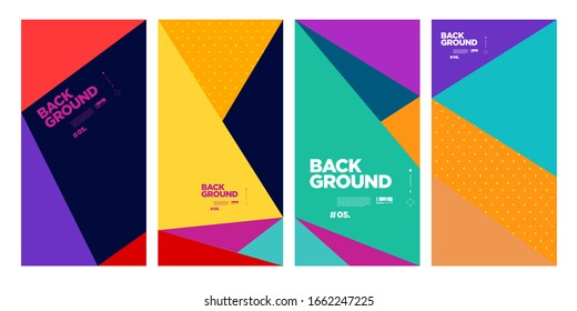 vector abstract flat geometric and curve colorful background pattern for summer