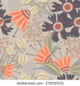 Vector abstract floral background. Seamless pattern with hand drawn elements, exotic fantasy flowers, leaves. Stylish summer texture in bright colors. Repeat design for wallpapers, textile, fabric