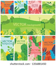 Vector abstract floral eco herbal background set with spring or summer leaves and flowers for banners, posters, cover design templates and wallpapers in flat design