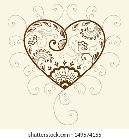 Vector abstract floral elements in indian mehndi style. Abstract henna floral vector illustration. Design element. Heart silhouette.