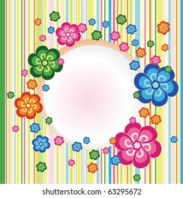Vector abstract floral frame with flower on striped background
