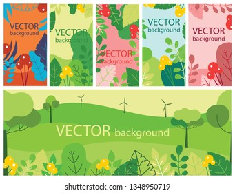Vector abstract floral herbal background set with spring or summer leaves and flowers for banners, posters, cover design templates and wallpapers in flat design