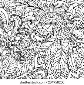 Vector of Abstract floral pattern in zentangle style