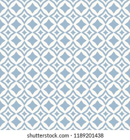 Vector abstract floral seamless pattern. Subtle blue and white background. Simple geometric ornament. Delicate graphic texture with diamond shapes, stars, rhombuses, square grid. Design for decoration