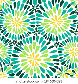 Vector abstract floral vintage background in green and yellow shades. Vector texture can be used for textile, wallpaper, web, greeting card, invitations and more.