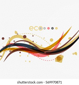 Vector abstract floral waves with leaves, nature abstract backgrounds