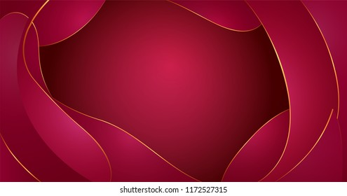 Vector abstract fluid shapes composition. Red wine waves background with plastic liquid, organic shapes with golden rim, circuit. Effect paper cut. Template of fluid organic shapes plastic liquid form