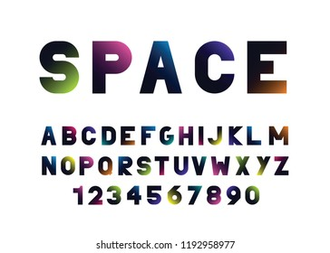 vector  abstract font and alphabet with a gradient
