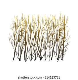 Vector abstract forest, leafless woods silhouette  brown colors, nature illustration, art