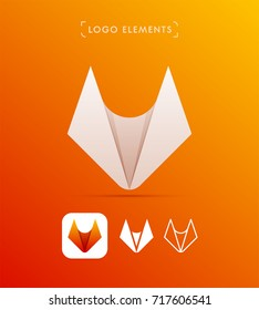 Vector abstract fox origami style logo template. Material design