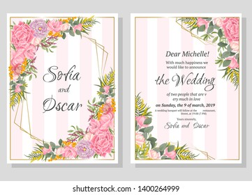 Vector abstract frame. Magnolia, roses, berries, Mimosa, different plants, green leaves. Template for wedding invitation. All elements are isolated.