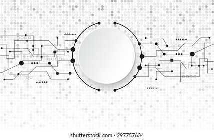 Vector abstract futuristic. 3d white paper circle with black line circuit board. Blank 3d paper circle for your design.And stripe line with circles pattern in matrix style over light gray background