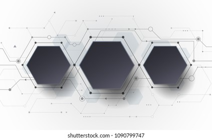 Vector Abstract futuristic circuit board on light gray background, hi-tech digital technology concept. Blank black 3d paper polygon label with space for your content, business, network and web design