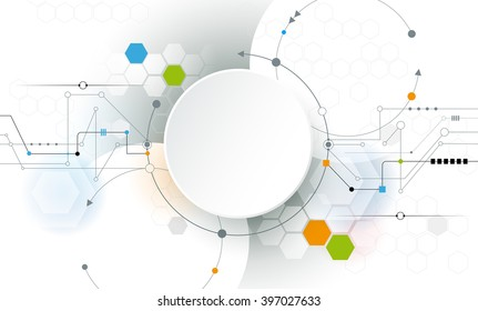 Vector Abstract futuristic circuit board on light gray background, hi-tech digital technology concept. Blank white 3d paper circle label with space for your content, business, network and web design