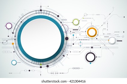 Vector Abstract futuristic circuit board on light gray background, hi-tech digital technology concept. Blank white 3d paper circle label with space for your content, business, network and web design   - stock vector