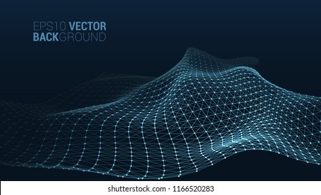 Vector abstract futuristic digital landscape