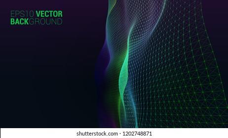 Vector abstract futuristic digital landscape