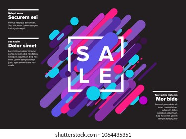 Vector abstract futuristic sale poster made from big color lines - dark version