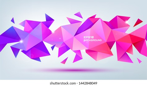 Vector abstract geometric 3d facet shape. Use for banners, web, brochure, ad, poster, etc. Low poly modern style background. Purple, multicolor