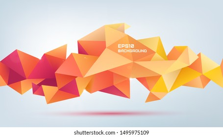 Vector abstract geometric 3d facet shape. Use for banners, web, brochure, ad, poster, etc. Low poly modern style background. Red and orange origami banner