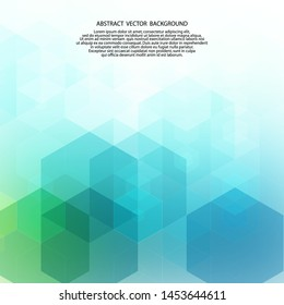 Vector Abstract geometric background. Template brochure design. Blue  and green hexagon shape