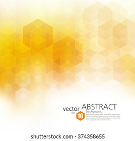 Vector Abstract geometric background. Template brochure design. Orange hexagon shape
