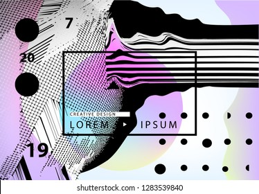 Vector abstract geometric background with trendy glitch art elements. Horizontal orientation poster, landing page