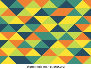 Vector Abstract geometric background, triangle and rhombus, yellow ,orange ,lime ,teal and navy blue