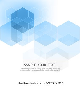 Vector abstract geometric background.Design element.Form a blue hexagon